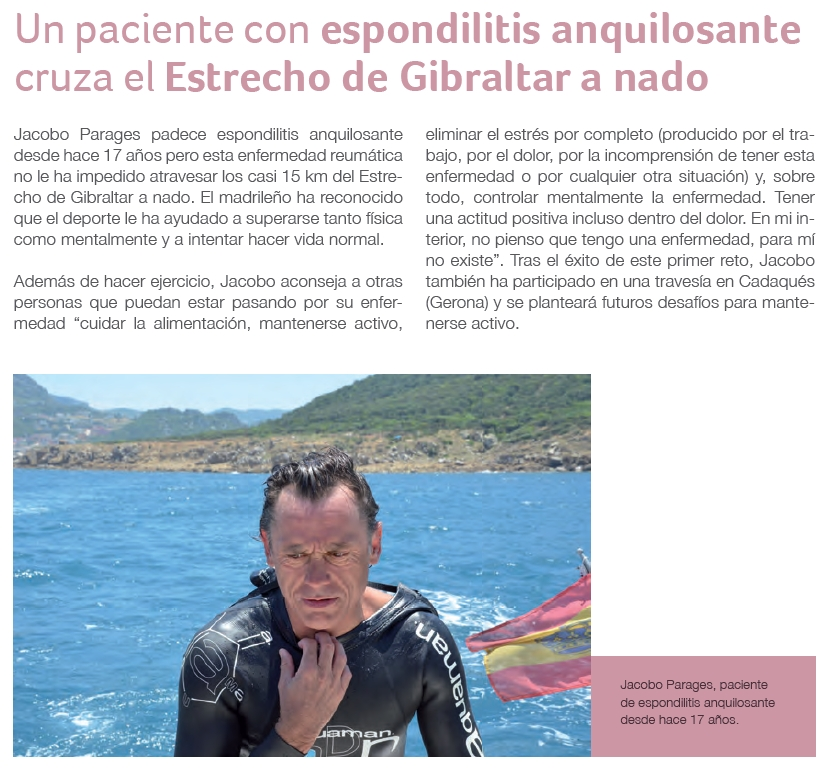 Un paciente con espondilitis anquilosante cruza el Estrecho de Gibraltar a nado