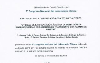 AIRE-MB obtiene el tercer premio a la mejor comunicación en el Congreso Nacional del Laboratorio Clínico 2014