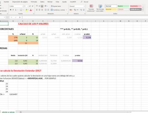 Calcula la desviación estándar y los p-valores para medias y porcentajes