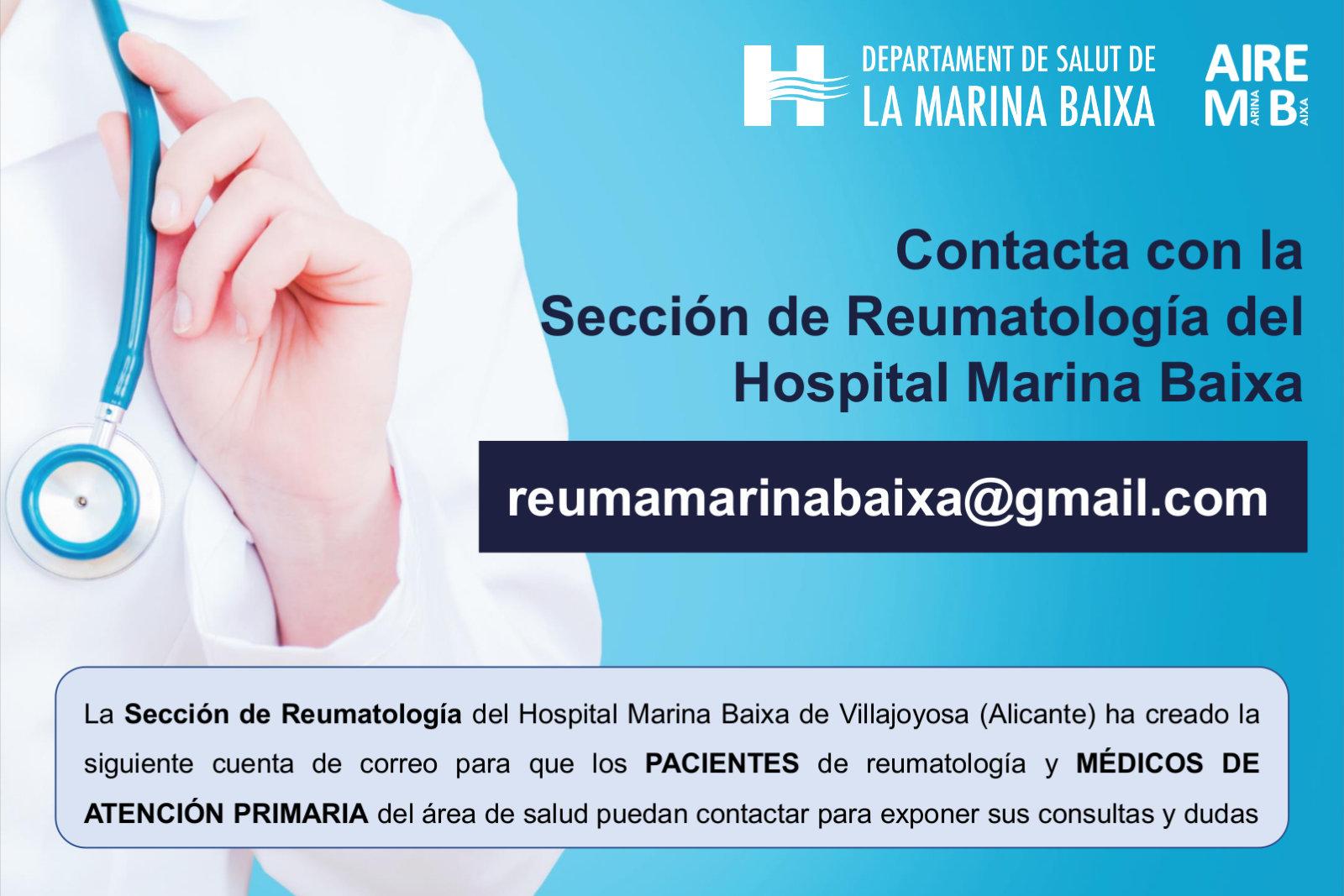 Contacta con la Sección de Reumatología del Hospital Marina Baixa de Villajoyosa (Alicante)