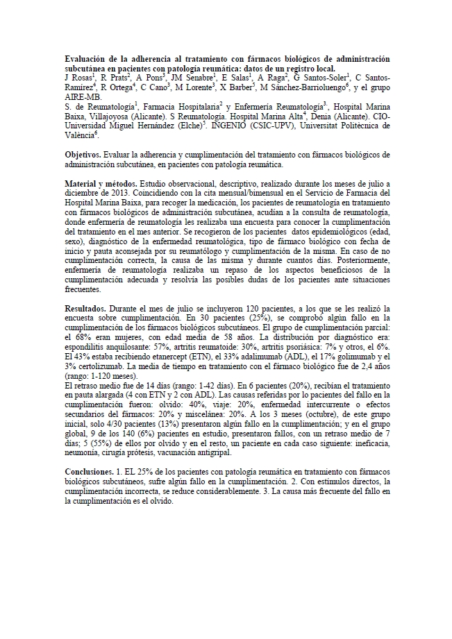 Evaluación de la adherencia al tratamiento con fármacos biológicos de administración subcutánea en pacientes con patología reumática: datos de un registro local
