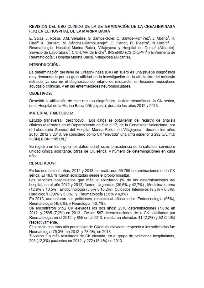 Revisión del uso clínico de la determinación de la creatinkinasa (ck) en el Hospital de la Marina Baixa