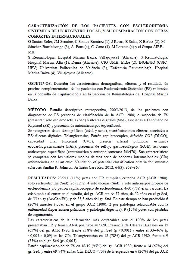 Caracterización de los pacientes con esclerodermia sistémica de un registro local, y su comparación con otras cohortes internacionales
