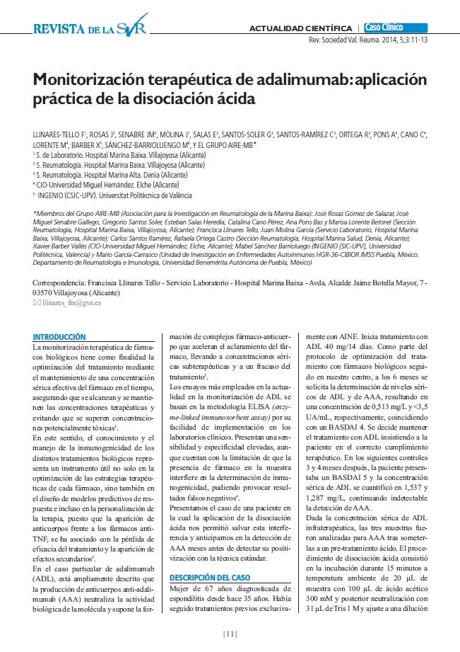 Monitorización terapéutica de adalimumab: aplicación práctica de la disociación ácida