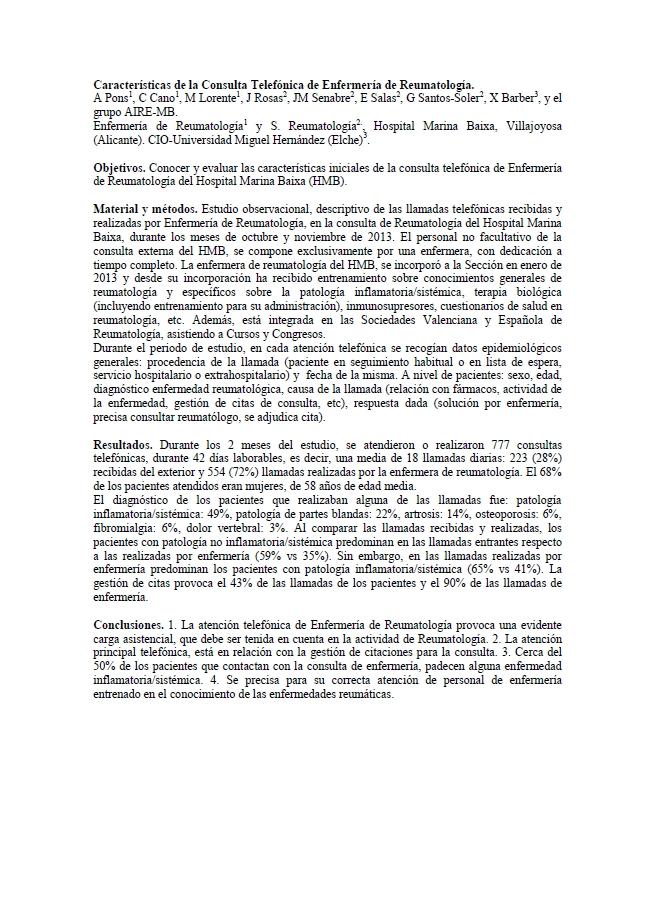 Características de la consulta telefónica de enfermería de reumatología