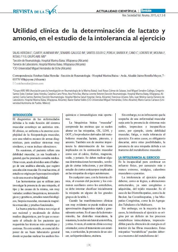 Utilidad clínica de la determinación de lactato y amonio, en el estudio de la intolerancia al ejercicio