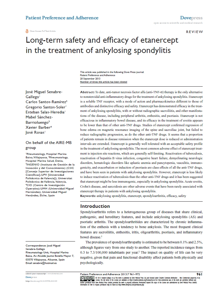 Long-term safety and efficacy of etanercept in the treatment of ankylosing spondylitis